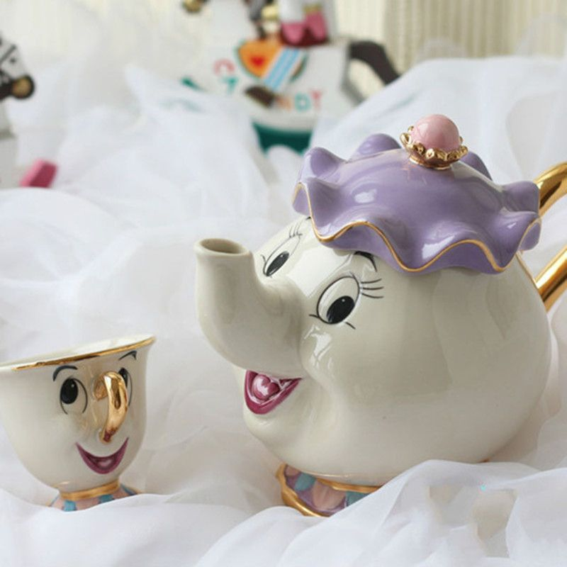 Cartoon Beauty And The Beast Tea Set Teapot Cup Mrs Potts <font><b>Chip</b></font> Bela E A Fera Pot Mug Kettle Milk Coffee Creative Xmas Gift