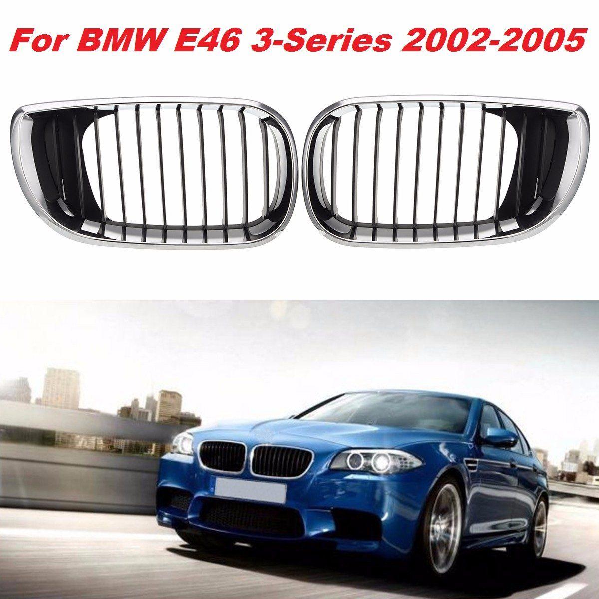 2Pcs L+R Chrome Car Front Kidney Grille Grill For BMW E46 3 Series 4-Door Saloon Estate 2001 2002 2003 2004 2005 #51137030546