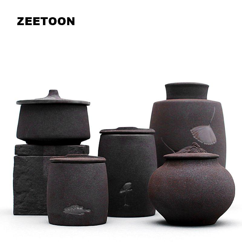 Schwarz Zen Japanischen Stil Groben Keramik Tee Dosen Kung Fu Tee-Set Teedose Glas Topf Zuckerdose Tee Verschlossen Kreative Wohnkultur Neue