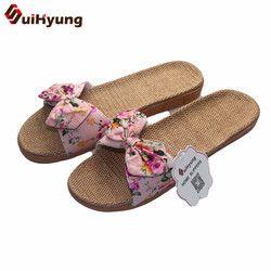 Suihyung mujeres Lino Deisgn moda Floral Bowknot plana cómodas zapatillas Zapatillas de casa Zapatos Zapatillas de playa