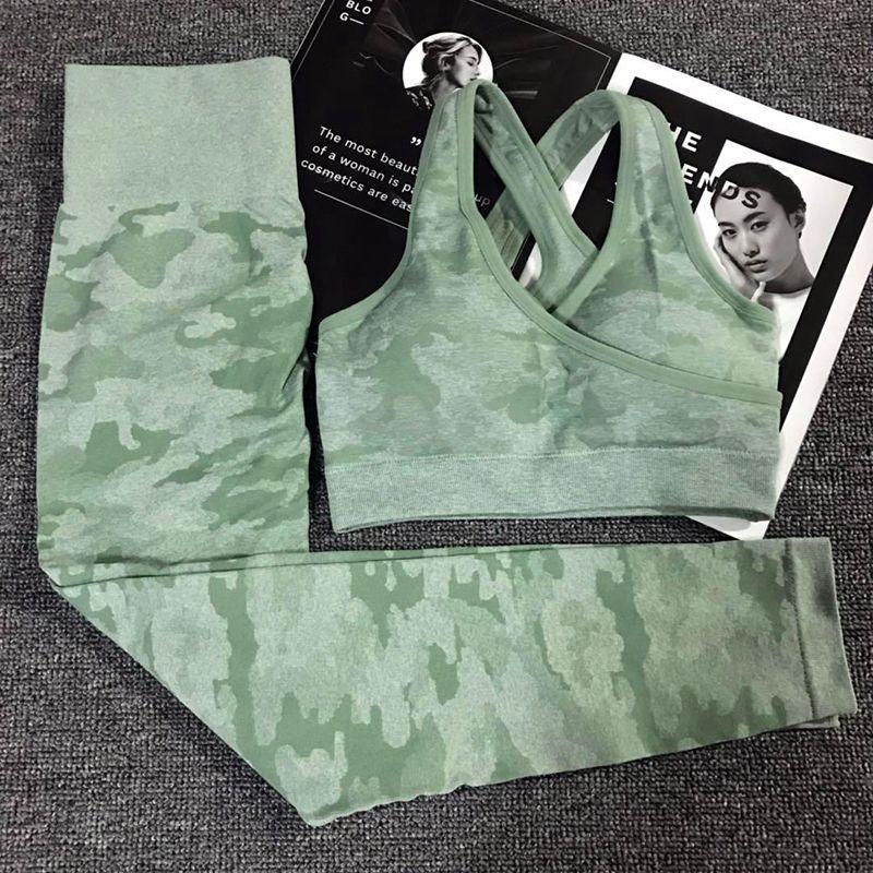 2 pièces Camouflage Camo Yoga ensemble tenue de Sport pour les femmes Gym Fitness vêtements butin Yoga Leggings + Sport soutien-gorge GYM Sport costume Femme