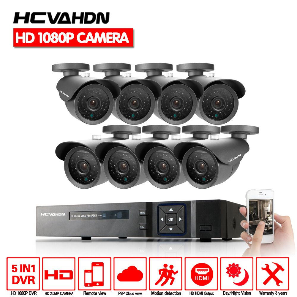 HD 8Channel Home Surveillance System 8CH AHD DVR Kits 2.0MP 1080P 3000TVL Waterproof CCTV Security Cameras System multi-language