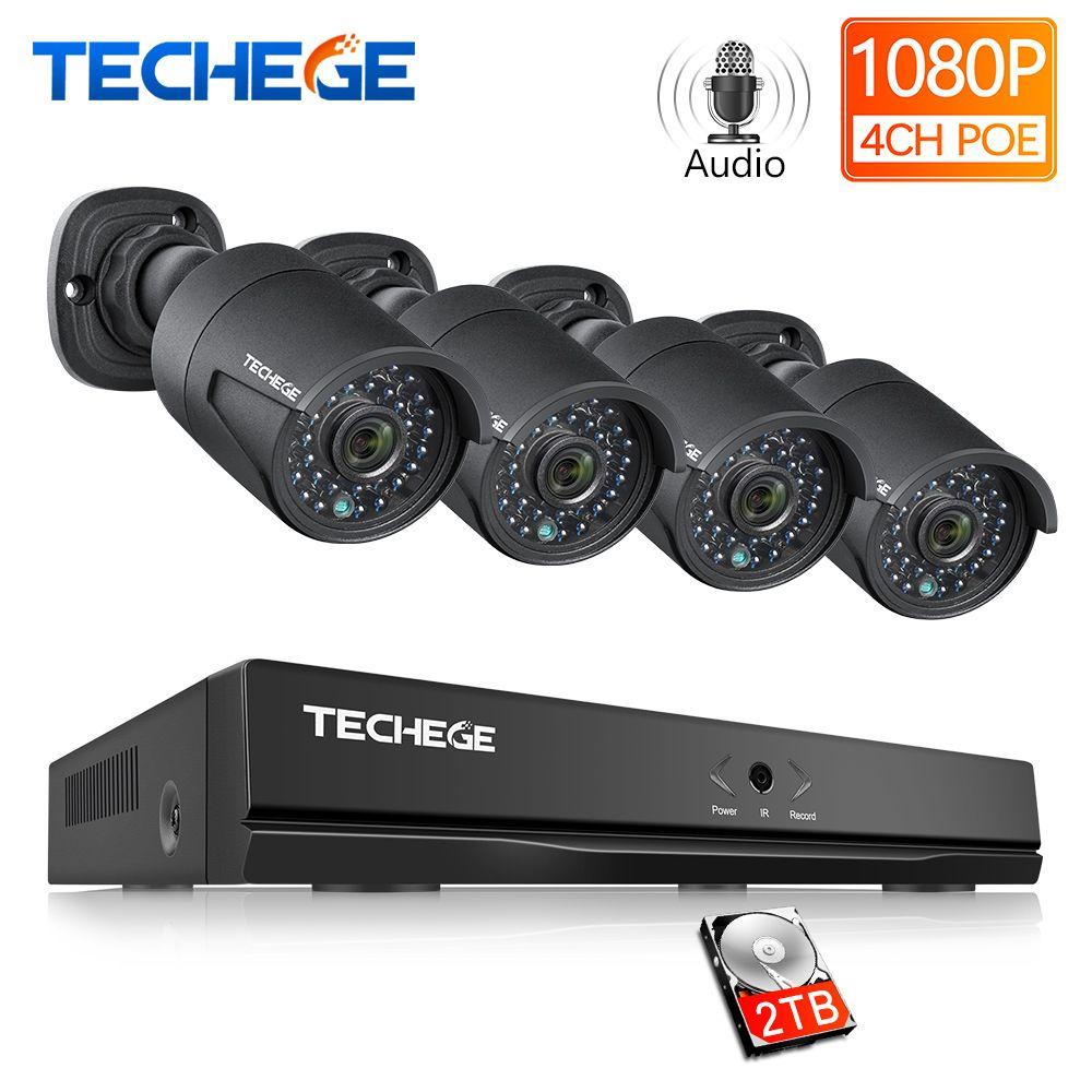 Techege 4CH 48V PoE NVR POE System Audio Record 2.0MP Onvif PoE IP Camera Waterproof Remote View XMEye Surveillance CCTV System