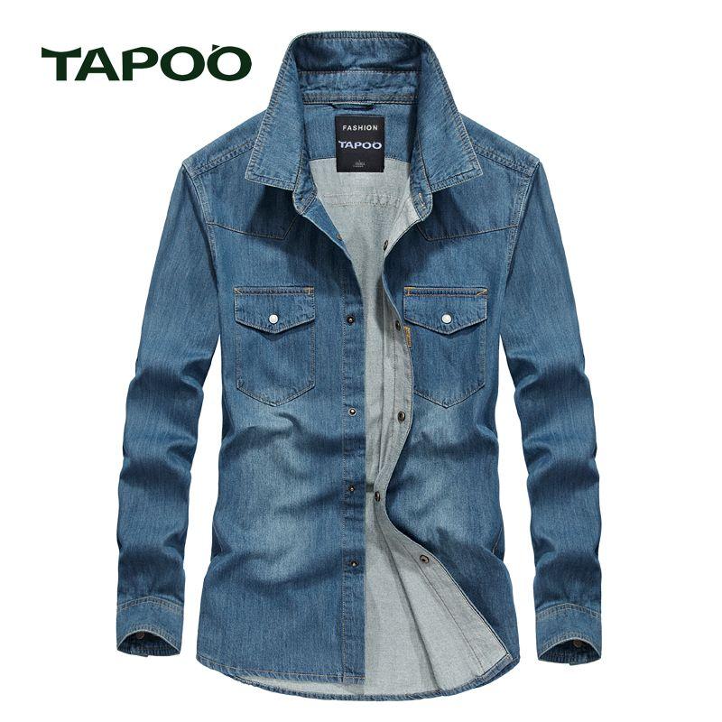 TAPOO 2017 männer shirts Europäische Größe Sommer Casual Slim Fit langarm Baumwolle Männlichen Jeanshemd 824