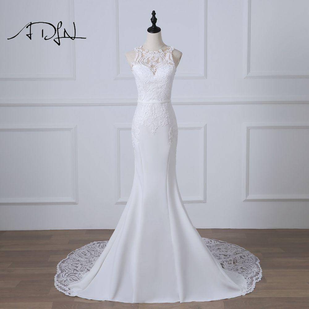 ADLN Romantische Meerjungfrau Hochzeit Kleider Robe de Mariage Weiß/Elfenbein Gericht Zug Sexy Illusion Zurück Brautkleid Customized