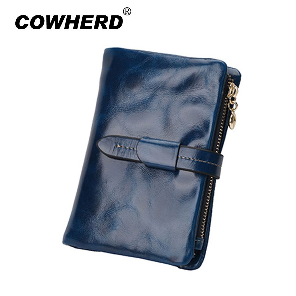 100% Cowhide Genuine Oil Wax Leather Women Wallet  3 fold  Short Fashion Vintage Coin purse with string design 8colors 1029