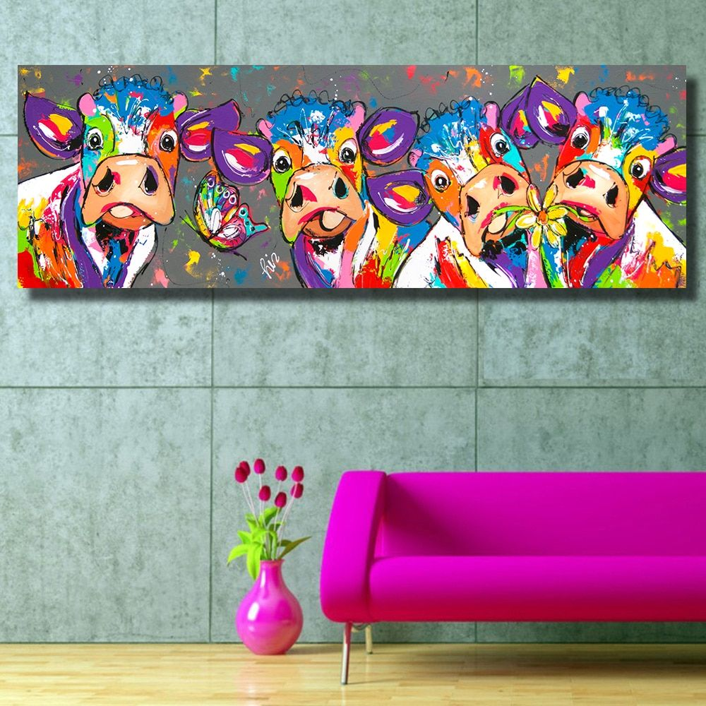 HDARTISAN Colorful Four Cows Animals <font><b>Graffiti</b></font> Oil Painting Canvas Prints for Wall Art Picture for Bedroom Living room Home Decor