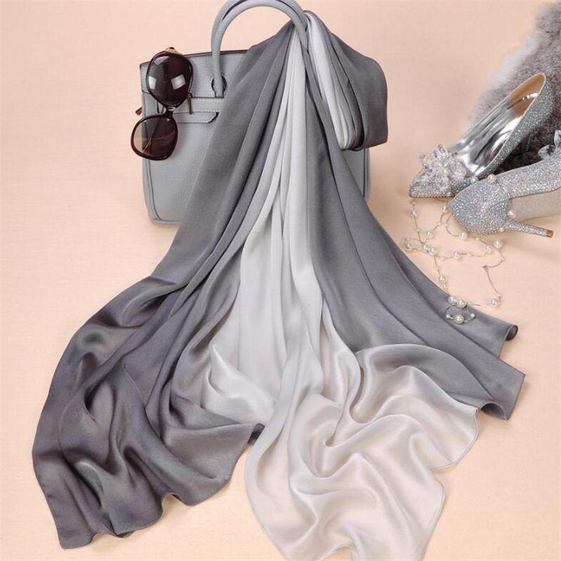 2019 marque femmes Foulard en soie mode solide printemps Echarpe lisse été Wrap femelle Voile luxe foulards Foulard couverture de plage