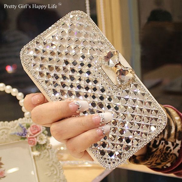 Pretty Girl's Happy Life For Huawei P9 Lite 2017 Case Bling Diamond Leather Cover For Huawei P9 Lite 2017 Stand Capa Fundas