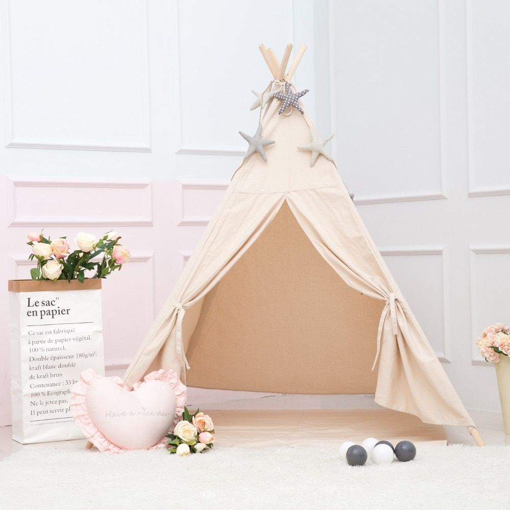 Princess Kids Teepee Play Tent 100% Cotton Canvas Children Tipi Playhouse Indoor Outdoor Toy Boys Girls Baby Gift Beige With Mat