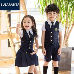 Детский темно-синий хлопковый костюм японской школьной униформы для девочек и мальчиков, жилет, рубашка, юбка, шорты, одежда с галстуком