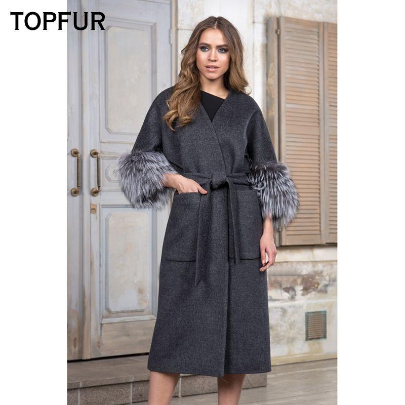 TOPFUR 110 CM Length Woolen Real Fur Coat Women Luxury Warm Coat With Silver Fox Fur Cuff Top Quality Fashion New Style Fur Coat