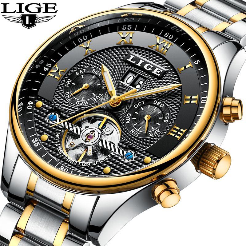 2018 LIGE Herren WatchesTop Marke Luxus männer Automatische Mechanische Uhr männer Edelstahl Wasserdicht Multi-funktion Uhr + box