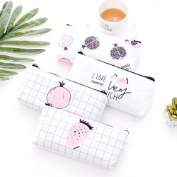 1Pcs/Sell Canvas Fruit Simple PencilsBags Kawaii Girl Pencil Case Durable Large Capacity School Supplies Stationery High Quality