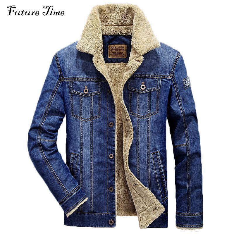 M-4XL men jacket and coats brand clothing denim jacket Fashion mens jeans jacket thick warm winter outwear male cowboy YF055