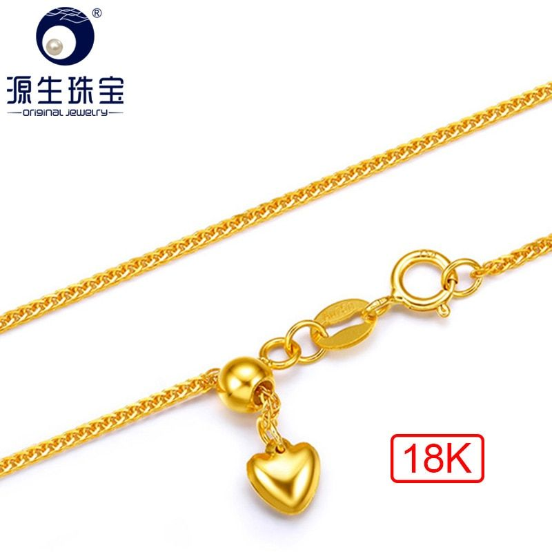 YS 18K Yellow Solid Gold Chain 2.2g 45cm Au750 Chain Necklace Fine Jewelry For Women