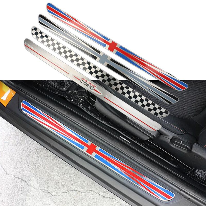 2pcs/lot Stainless Steel Union Jack Door Sill Welcome Plate Pedal Footboard Sticker for MINI Cooper F56 Hatchback Accessories