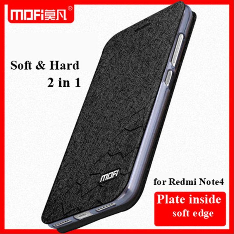 Pour Xiaomi Redmi Note 4X Cas D'origine MOFI Flip Étui En Cuir Pour Riz Rouge Note 4X Hongmi Note 4X Stand fonction Écran film