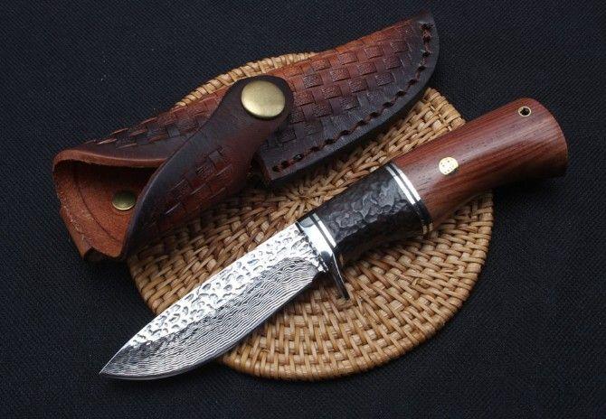 TRSKT Damaskus Sammlung Messer, Stahl + Ebenholz Griff, 60Hrc, Mit Leder Mantel, jagd Überleben Edc messer Dropshipping