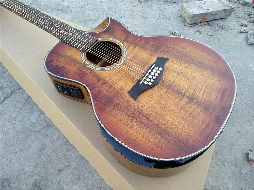 Freies verschiffen Koa holz Handgemachte jumbo akustische 12 string armlehne abgeschrägte cutway 12 Saiten custom akustische elektrische gitarre