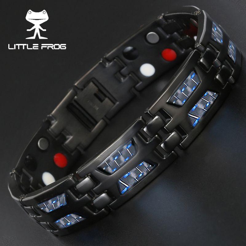 LITTLE FROG Drop Ship 2018 Double Row Negative ion Germanium Blue Bracelet for Man Titanium Carbon Fiber Bracelets Bangles Gift
