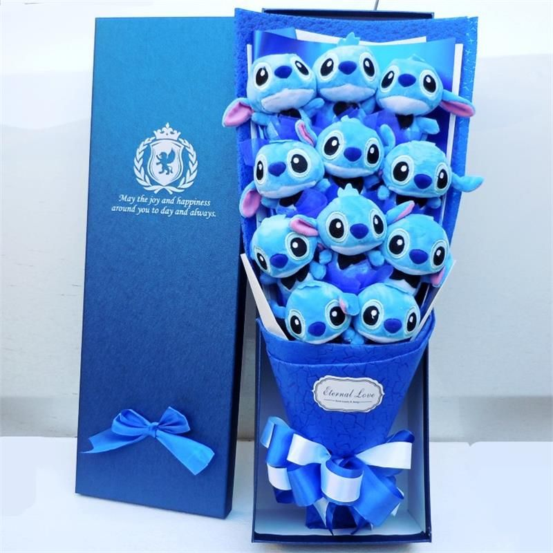 Cute Stitch stuffed catoon bouquet gift box Plush Toy Lovely Staffed Doll Best Gift for Children toy Christmas Valentine's gifts