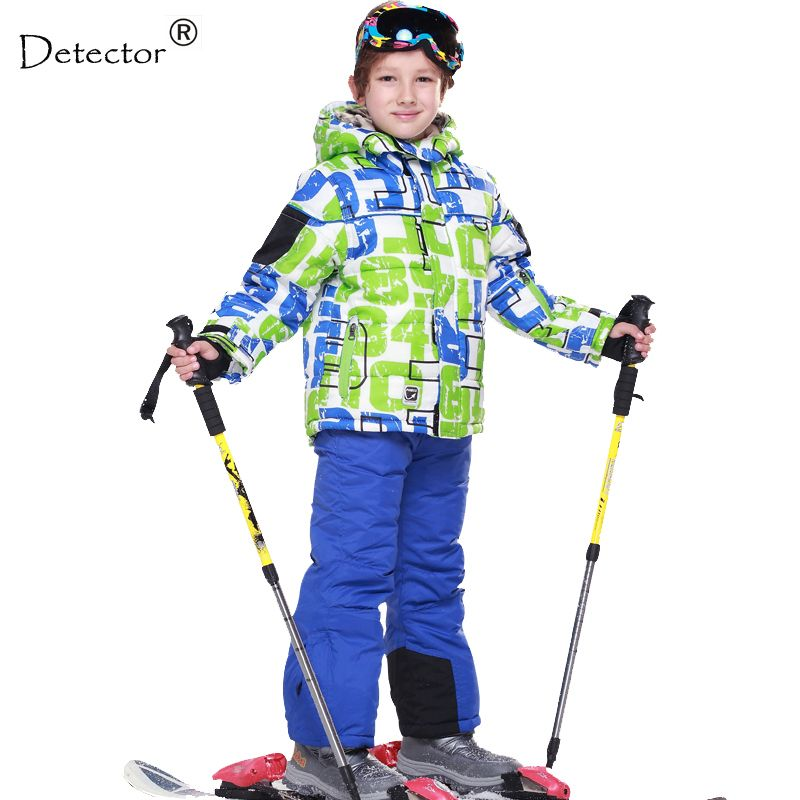 FREE SHIPPING skiing jacket+pant snow suit fur lining -20 DEGREE ski suit kids winter clothing set for boys