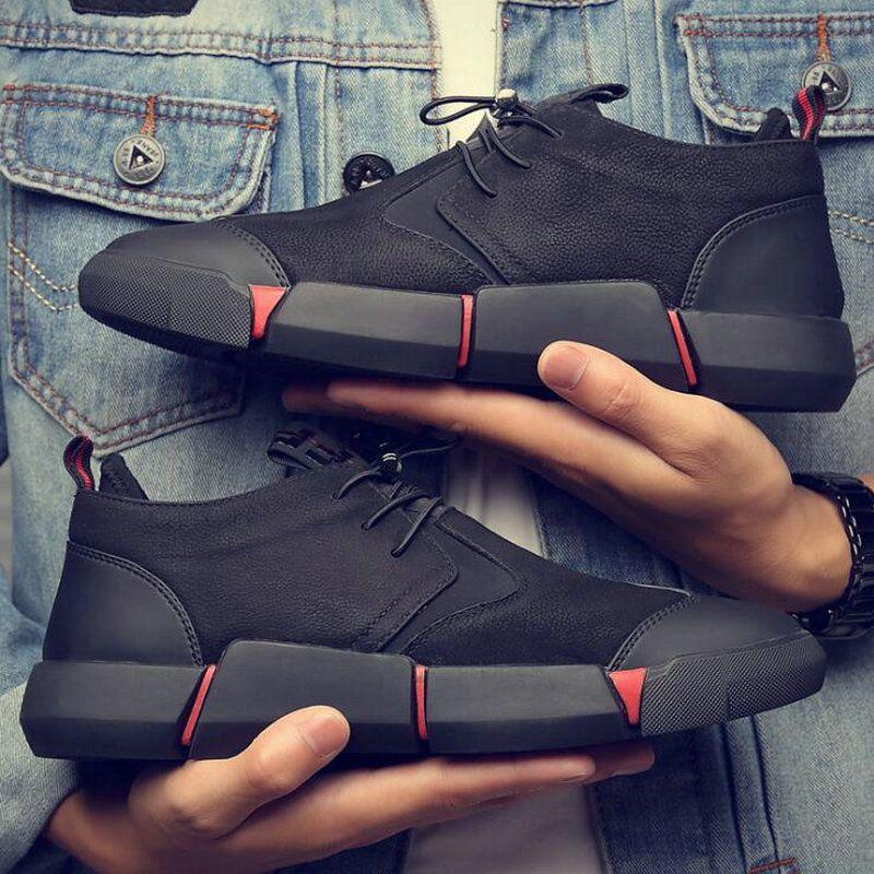 Nouvelle marque de haute qualité tout noir hommes en cuir chaussures décontractées mode respirant baskets mode appartements grande grande taille 45 46 LG-11