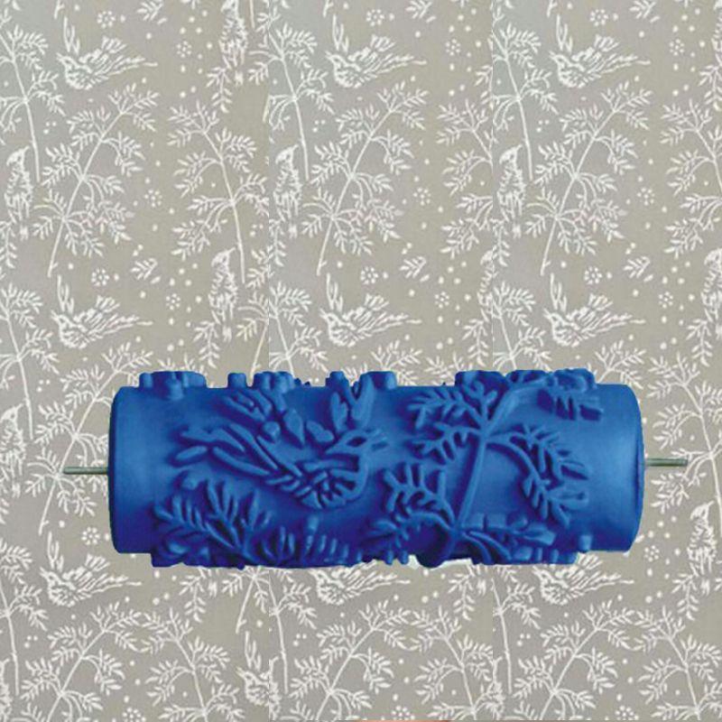 5 pulgadas azul rodillo de goma rodillo de pintura decoración de la pared, rodillo de pintura de pared decorativos sin mango, hojas 002Y