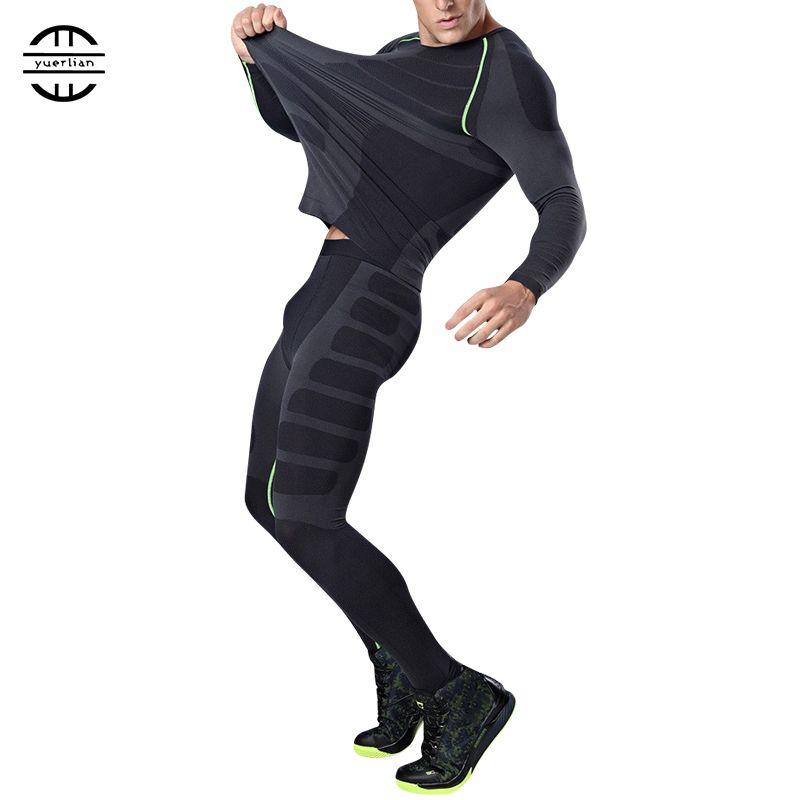 Yuerlian New Dry Fit Compression Tracksuit <font><b>Fitness</b></font> Tight Running Set T-shirt Legging Men's Sportswear Demix Black Gym Sport Suit