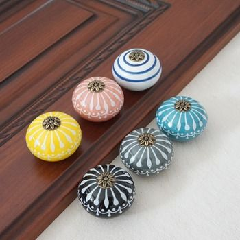 En céramique Bouton/Commode Boutons Blanc Bleu Armoire Tire Boutons/Unique Porte De La Cuisine Poignée Bouton Meubles Matériel