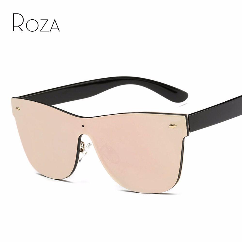 ROZA Women's Sunglasses Conjoined Lens Brand Design Rimless Plastic Temple Sun Glasses Oculos De Sol UV400 QC0323
