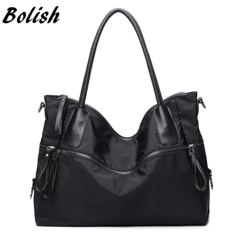 Bolish Fashion Black Bag Simple Single Shoulder Bag Larger Capacity Oxford Travel Bag Women Handbag Casual Female Bag