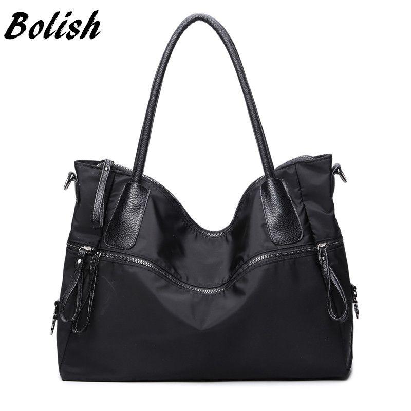 Bolish Fashion Black Bag Simple Single Shoulder Bag Larger Capacity Oxford Travel Bag Women Handbag Casual Female Bag