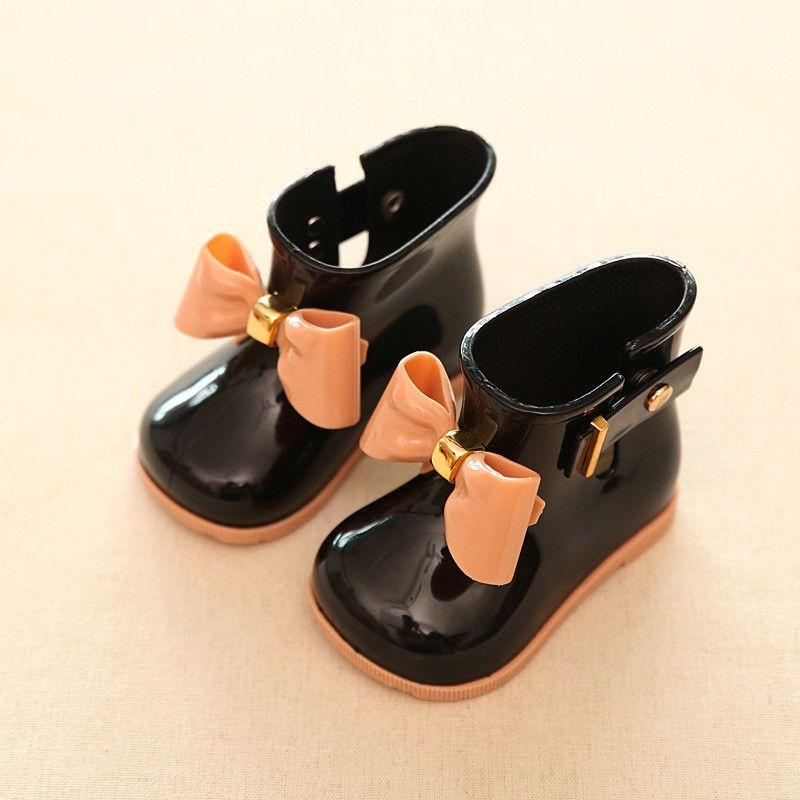 Bottes en caoutchouc pour enfants bottes enfants PVC bébé filles gelée mignon Bowknot chaussures de pluie rouge/rose/noir imperméable boucle bottines
