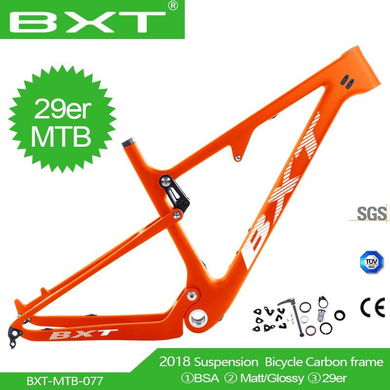 29er Full Suspension Carbon Boost Mountainbike Rahmen in Schock 165*38mm reise 100mm Max Reifen größe 2,3 29er BSA MTB Rahmen