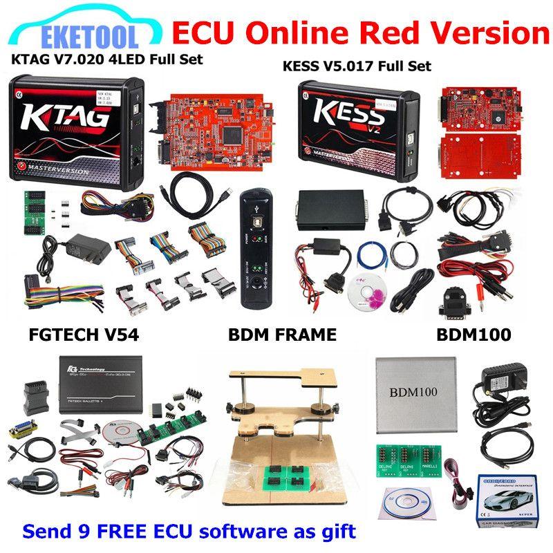 Red PCB EU Ver. KESS V5.017 KTAG V7.020 SW2.23 FGTECH V54 BDM FRAME BDM100 V1255 Add 9 Free ECU SW as GIFT KESS 5.017 KTAG 7.020