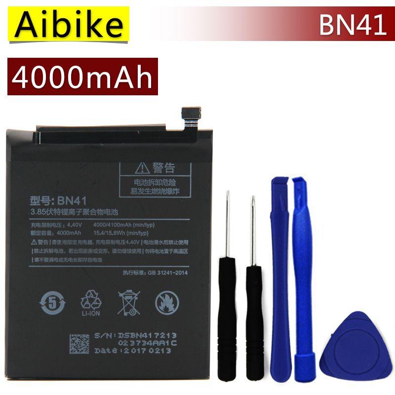 BN41 Aibike Nueva batería original del teléfono móvil Para Xiaomi Redmi Nota 4 Batería 4000 mAh Reemplazo Real Regalo de fijación de herramientas