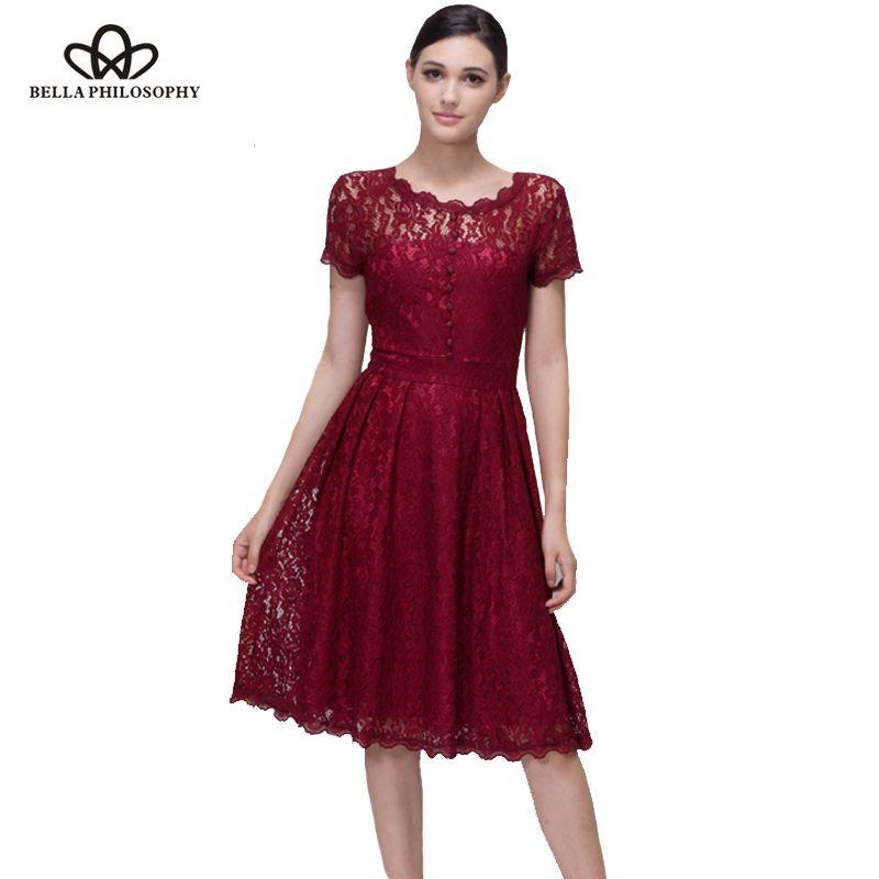 Bella Philosophy women summer elegant short sleeve lace skater dress party dress female vestidos
