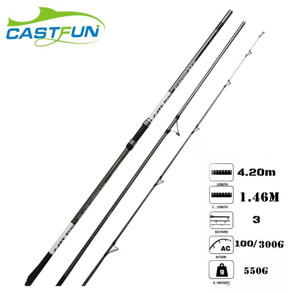 Castfun 2018 New Product Surf Rod 3 Section 4.2m 100g-300g Canne a Peche High Carbon Surf casting Rod