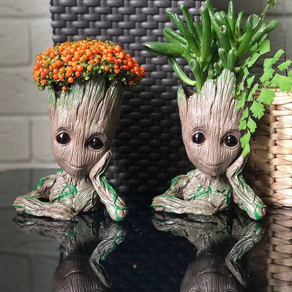 Cute Cartoon Flowerpot Home Decor Ornament Figures Cute Model Toy Pen Pot Holder Garden Decor Supplies Flower Pot Planters