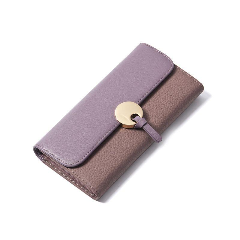 Lila Damen Brieftasche Aus Echtem Leder Geldbörse Kupplung Frauen Luxus Marke Brieftaschen Weibliche Patchwork Designer Vintage Lange Brieftasche Dünne
