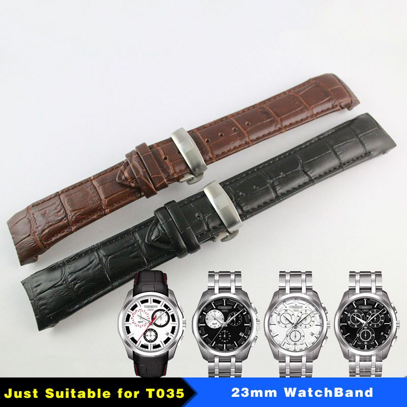 23mm (Buckle 20mm) T035617A T035439 High Quality Silver Butterfly Buckle + Brown Black Genuine Leather curved end Watchband
