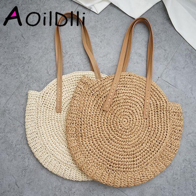 Sac de plage rond en paille sac à bandoulière tissé à la main Vintage sacs en raphia cercle en rotin sacs décontractés de vacances d'été bohème