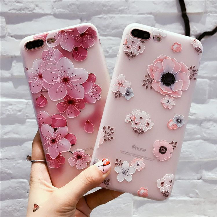 iPhone6s case 6Plus Cover 7Plus Silicone Embossed Anti-fall Soft Shell dropshipping