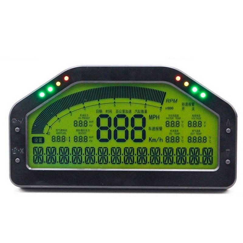 Universal Dash Race Display Gauge SENSOR KIT Dashboard LCD Screen Waterproof 9000rpm Rally Gauge