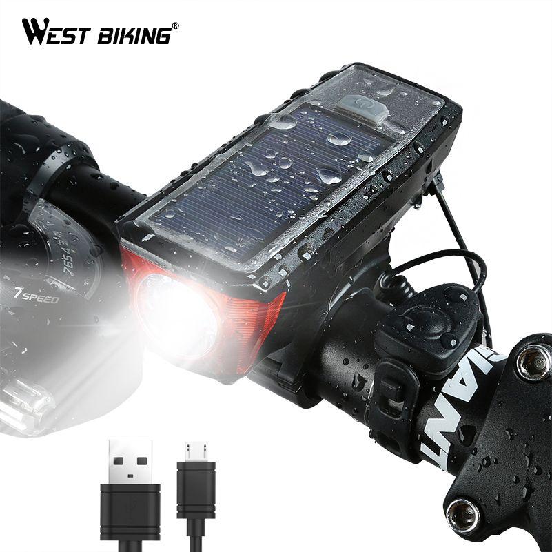 WEST BIKING Solar Power Bike Light Waterproof 350 Lumen Bicycle Bell Light LED USB Rechargeable Lamp Front <font><b>Headlights</b></font> Bike Light