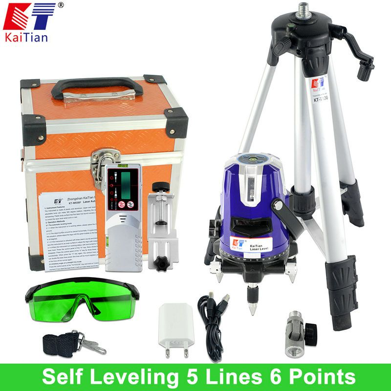 KaiTian Green Laser Level with Outdoor Tripod Tilt Function 360 Rotary Self Leveling 532nm 5 Lines Vertical & Horizontal Lasers