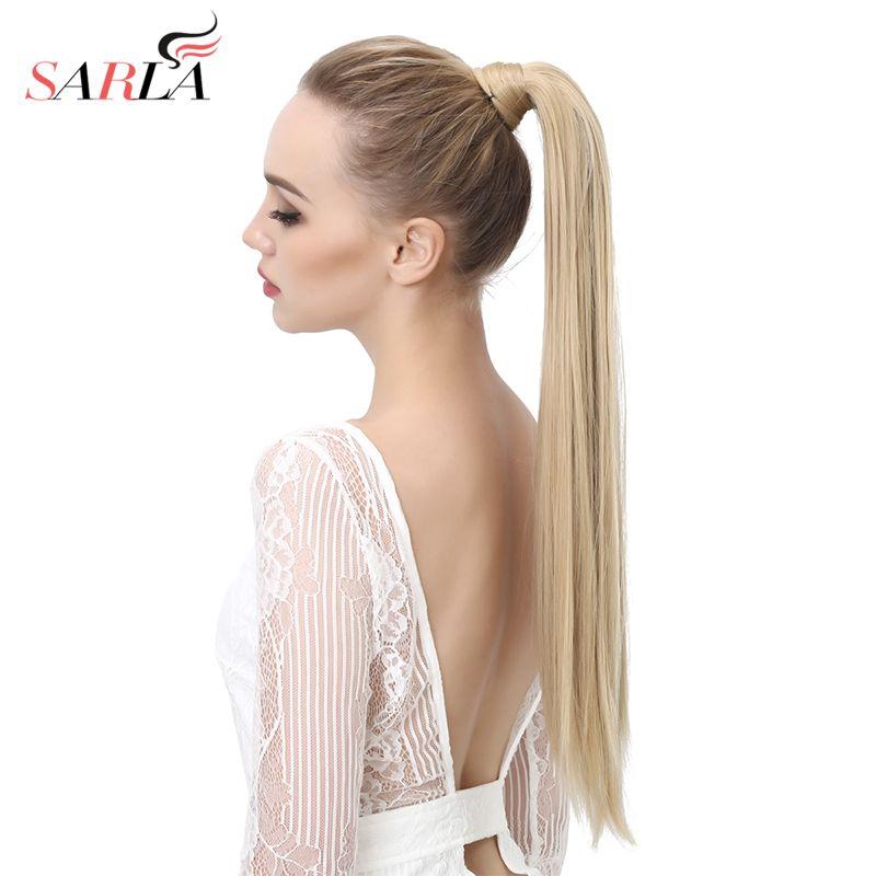 SARLA 24 28 Wrap synthétique queue de cheval Extension de cheveux queue de cheval pince à cheveux queue de cheval perruque queue de poney Flase postiche cheveux queue
