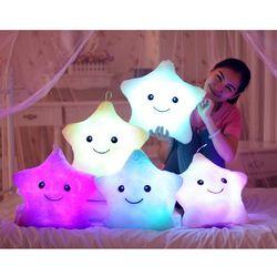 Hot 1pcs 38cm Led Light Pillow Luminous pillow Christmas Toys plush Pillow Hot Colorful Stars,kids ToysBirthday Gift